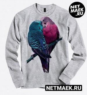 Свитшот Влюбленные птички, цвет серый меланж