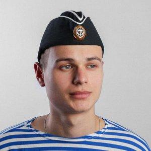 Пилотка ВМФ, с кокардой, черный, р.58+термонаклейка