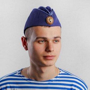 Пилотка ВВС, с кокардой, синий р.58+термонаклейка