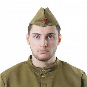 Пилотка военного для взрослых + термонаклейка