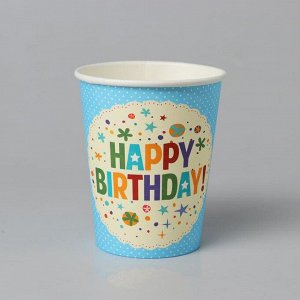 Стакан бумажный «С днём рождения», набор 6 шт., цвет голубой