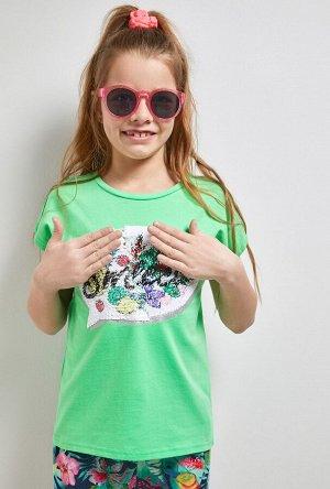 Футболка(Фуфайка) детская для девочек Kanary зеленый