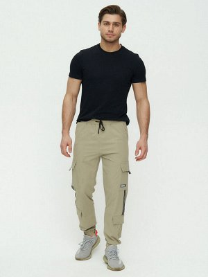 Штаны джоггеры мужские бежевого цвета 3011B