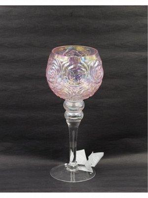 Ваза стекло Бокал Н30 см цвет розовый