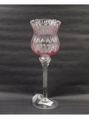 Ваза стекло Бокал Н35 см цвет розовый
