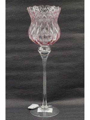 Ваза стекло Бокал Н40 см цвет розовый