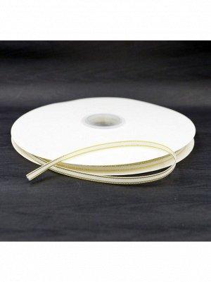 Лента репсовая 0,6 см х 100 м цвет белый с золотом HS-50-5