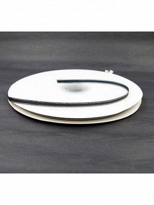 Лента репсовая 0,6 см х 100 м цвет черный с серебром HS-50-5