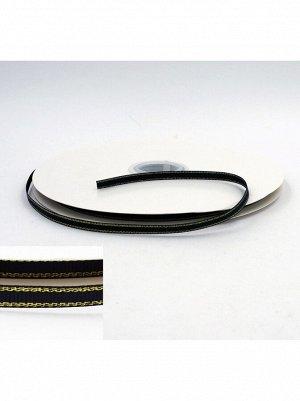 Лента репсовая 0,6 см х 100 м цвет черный с золотом HS-50-5