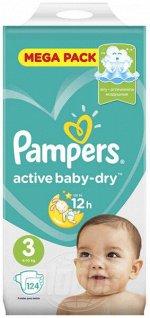 Подгузники Pampers active baby dry (6-10 кг) уп.124