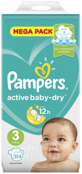 Pampers active baby dry (6-10 кг) уп.124