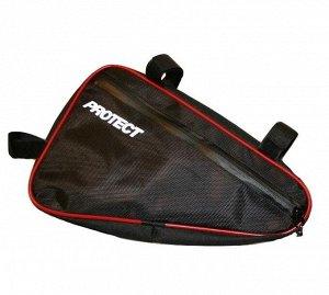 Велосумка под раму, р-р 40х26х6 см, со световозвр. аппликацией, цвет черный, PROTECT™ 555-553