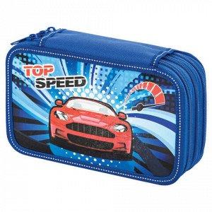 """Пенал BRAUBERG, 3 отделения, ламинированный картон, """"Top Speed"""", 19х11 см, 229212"""