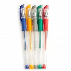 Набор гелевых ручек, 5 цветов, металлик,с резиновыми держателями, МИКС