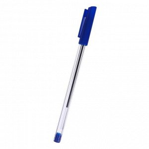 Набор ручек шариковых 3 штуки, стержень 1,0 мм, синий, корпус прозрачный с синим колпачком