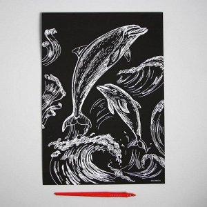 Гравюра «Дельфины» с металлическим эффектом серебра А4