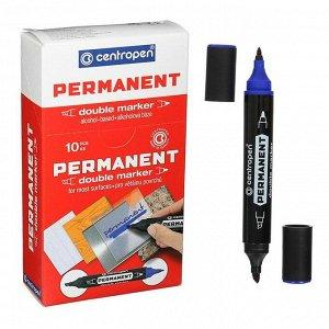 Маркер перманентный, Centropen 1666/06, двухсторонний, 2.5 мм/4.0 мм, пулевидный/скошенный, синий