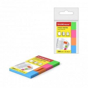 Закладки бумажные 20 x 50 мм Erich Krause Neon, 4 цвета по 50 листов, с клеевым краем ,МИКС