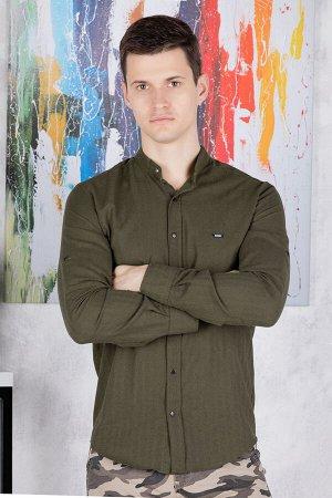 Рубашка Модель: A2-модель. Цвет: хаки. Комплектация: рубашка. Состав: хлопок-80%, полиэстер-20%. Бренд: Tricko. Фактура: полоса. Посадка: casual.