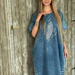 Платье Ткань Джинсы хб