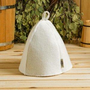 Набор банный белый 3 предмета без вышивки (шапка, варежка, коврик) в плёнке