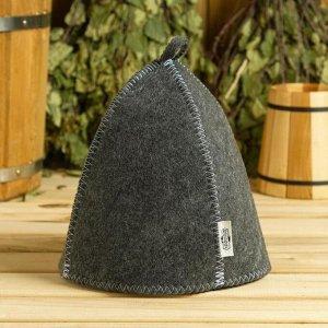 Набор банный серый 3 предмета без вышивки (шапка, варежка, коврик) в плёнке