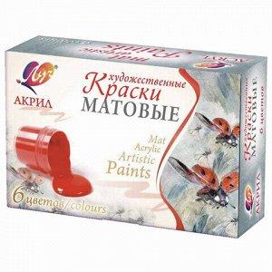 Краски акриловые художественные матовые ЛУЧ 6 цветов по 20 мл, в баночках, 29С 1746-08