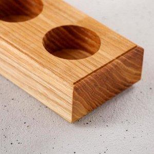 """Кашпо деревянное """"Тройное"""", массив ясеня, 19х7х3,5 см"""