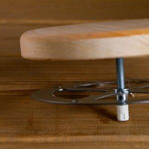 Вентиляционный клапан из липы, D=10см, оцинкованное основание