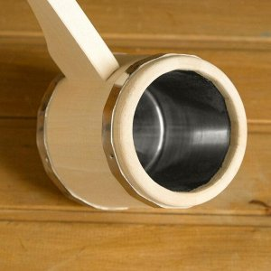 """Ковш для бани из липы """"Емеля"""", 0.5л, 40 см, нержавеющая вставка, с горизонтальной ручкой"""