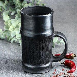 """Кружка для пива """"Чёрная керамика дымленая"""", 1 л"""