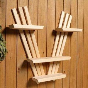 Полка деревянная трехъярусная V-образная, натуральная