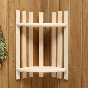 Полка деревянная, угловая, двухуровневая