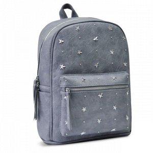 Рюкзак серый с заклепками звездами 35х26х16см 48361