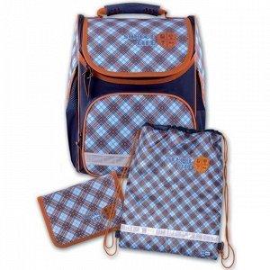 Рюкзак + пенал + мешок д/обуви Шотландка голубая 43271