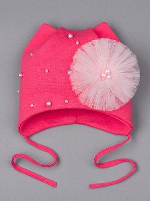 Шапка трикотажная для девочки на завязках с кошачьими ушками, бусины, бант из фатина, ярко-розовый