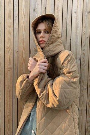Стеганое пальто с объемными рукавами и косынкой TOPTOP