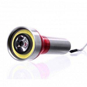 Фонарик Размеры: 12 см 4,50 см Светильник: 75-100 mt Цвет: белый Время работы: 5 + 6 часов Материал корпуса: алюминий 2 режима освещения, широкий Работает от 3 батареек топа AAA Срок службы лампы: до
