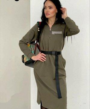 Платье Ремень в комплекте Ткань/Трикотаж