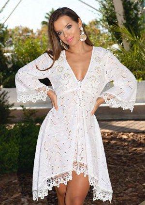 Платье 21A-224 C Платье free size, 105 см, хлопок, прошва, белый