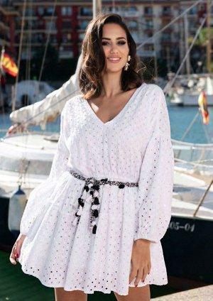 Платье 21F-006C Платье хлопок, на подкладке, прошва, белый