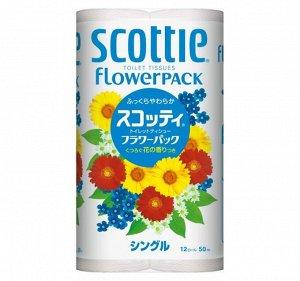 """Туалетная бумага Crecia """"Scottie FlowerPACK"""", однослойная 12 рул (50м)"""