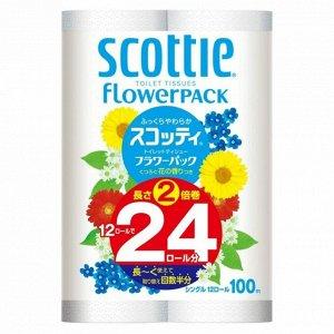 """Мягкая туалетная бумага особоплотной намотки, Crecia """"Scottie FlowerPACK 2"""", однослойная 12 рул (100м)"""