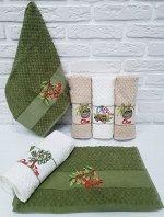 Кухонное полотенце Oliva цвет зеленый, белый, бежевый (40х60 см - 6 шт)