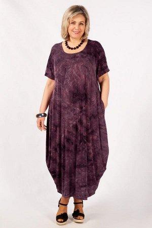Платье баклажановый, темно-серый, синий Летнее платье, в стиле «бохо», тренд текущего сезона. Выполнено из лёгкого трикотажного полотна.Рукав цельнокроенный, горловина округлая, по бокам карманы. Сейч