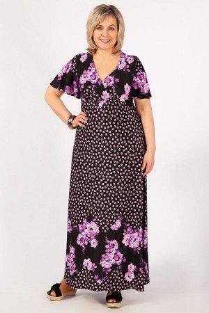 Платье фиолетовый/черный, желтый/черный. Роскошное платье, с отрезной линией бюста на запах, выполнено из лёгкого струящегося трикотажного полотна.   Длина макси, небольшой рукав – «крылышко». Длина и