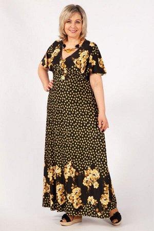 Платье фиолетовый/черный,  желтый/черный.  Роскошное платье, с отрезной линией бюста на запах, выполнено из лёгкого струящегося трикотажного полотна.   Длина макси, небольшой рукав – «крылышко». Длина