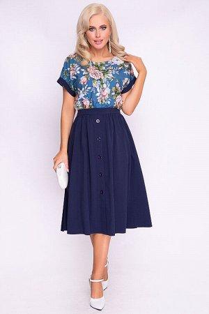 Комплект Комплект из текстильного полотна.Блузка свободного силуэта с цельнокроеными рукавами и контрастной отделкой.Юбка расклешенная. 30% вискоза 65% п/э,5% эластан