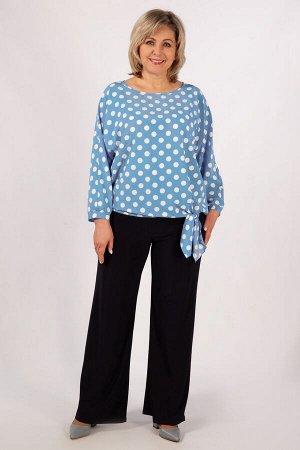Кофта Брусничный,  голубой,  фисташковый. Элегантная женская блуза, выполнена из нежного шифона-стрейч с модным принтом горошек. Горловина округлена, рукав «летучая мышь» на манжете. Низ блузы завязыв