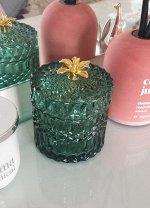 Шкатулка для украшений Roslin Floox, 9х9х11 см, цв.зеленый, стекло